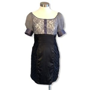 Rebecca Taylor Dress Grey Black Lace Silk Midi